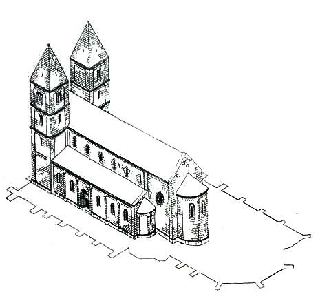 A templom tatárjárás előtti állapotának rekonstrukciója (Forrás: http://www.belvarosiplebania.hu)