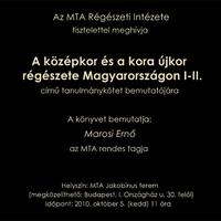 Könyvbemutató: A középkor és a kora újkor régészete Magyarországon