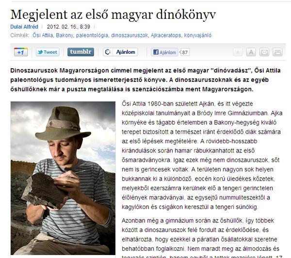 Megjelent az első magyar dínókönyv