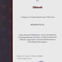 A Múmiavilág kiállításunk elismerő oklevelet kapott