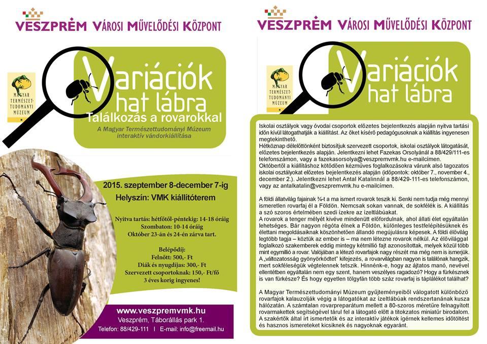 Variációk hat lábra - a rovaros vándorkiállításunk Veszprémben látogatható