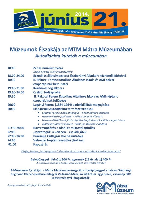 Múzeumok Éjszakája 2014 - MTM Mátra Múzeuma