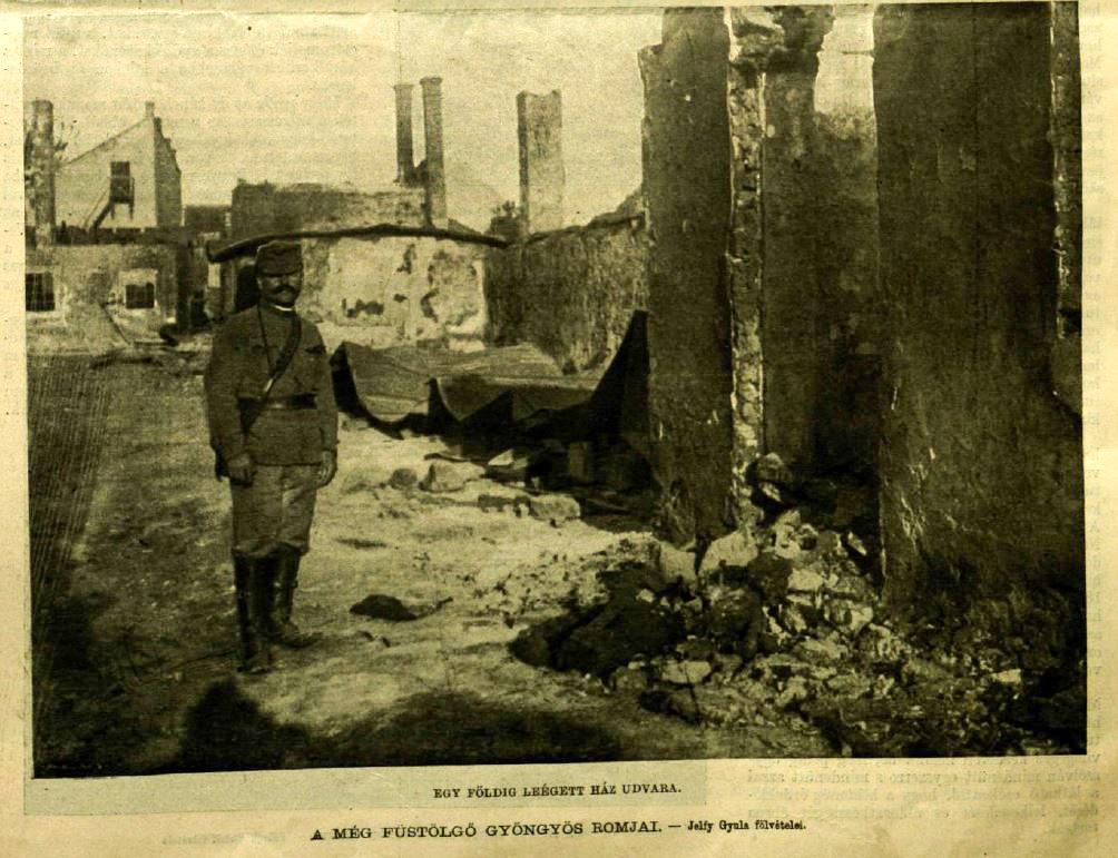 A város romjai még füstölgnek. Kép: Vasárnapi Ujság, 21. szám, 1917. 64. évfolyam