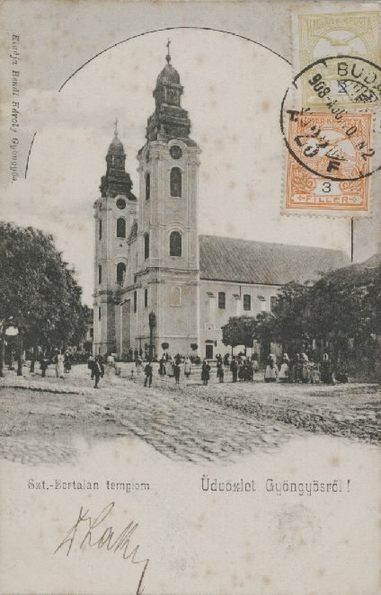 A Szent Bertalan templom 1908-ban, a tűz előtti állapotában. Kép: vk-gyongyos.bibl.hu