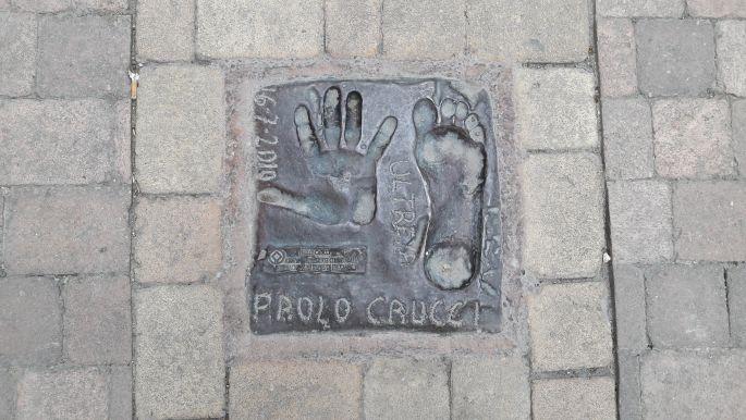 El camino, Belorado, hírességek tenyér- és lábnyomata - Paolo Caucci, a camino nemzetközi bizottságának elnöke