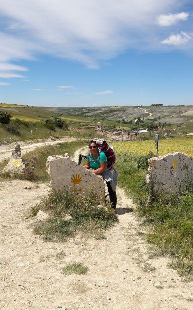El camino Hontanas határkő és Erika