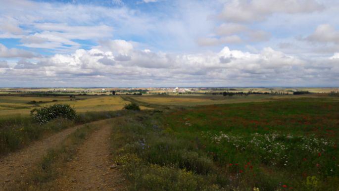 El camino út, a távolban már Sahagún, az út végén meg keresztben közlekednek a zarándokok... de akkor én milyen úton járok?