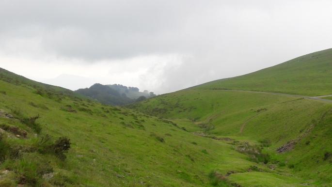 Pireneusok. Mindenütt zöld legelők, hegyek és völgyek.
