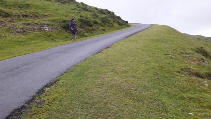 Pireneusok. Erika mögött egy útjelző kő, mögötte pedig egy elhagyott melltartó hevert... :-)