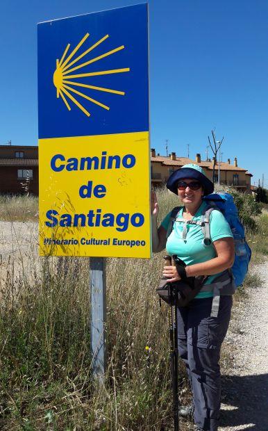 El camino, Camino de Santiago jelzőtábla és mellette jómagam