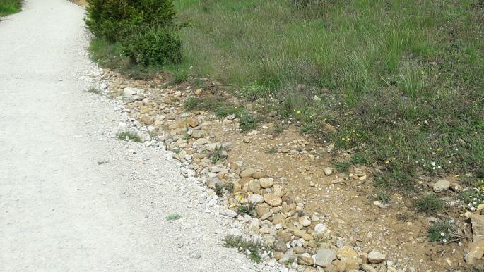 El camino, lefelé az Alto del Perdón hegyről. Ilyen volt, ilyen lett (az út jobb és bal oldala).