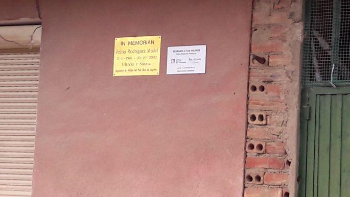Dona Felisa emléktábla Logrono határában egykori háza falán.