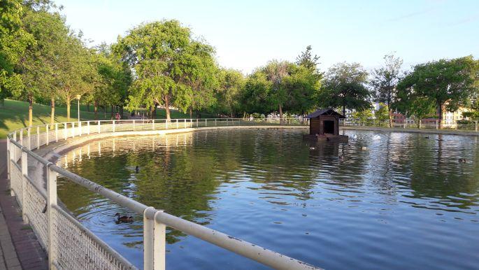 Logrono, park halastóval
