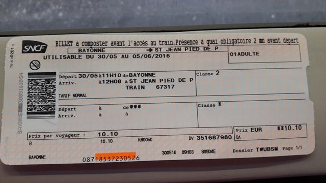 Vonatjegy Saint Jean Pied de Port felé