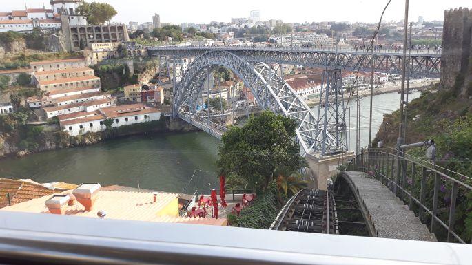 Portugál camino, Porto, Lajos híd a siklóról fotózva