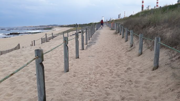 Portugál Camino de la Costa, deszkapallók és homok