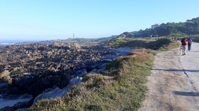 Portugál Camino Costa, óceánpart, itt még a bal kezünk felé esett az óceán