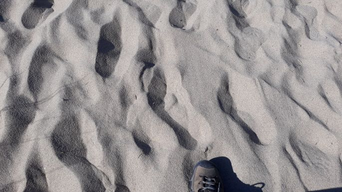 Portugál Camino Costa, óceánpart, a homokban járás nem volt egyszerű