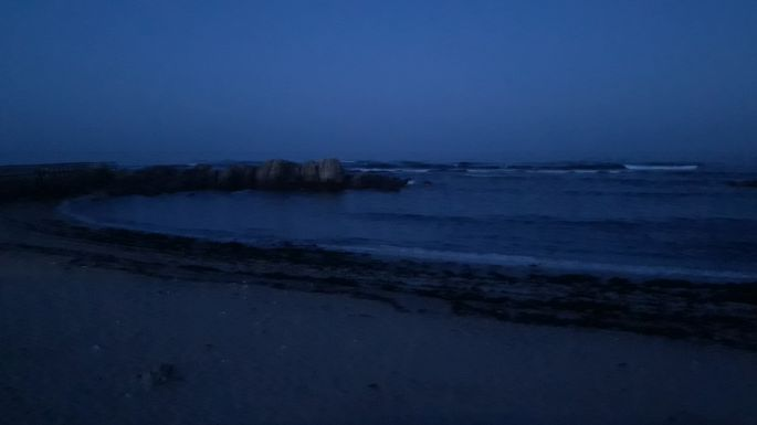 Portugál Camino Costa, az óceán reggel még sötétben