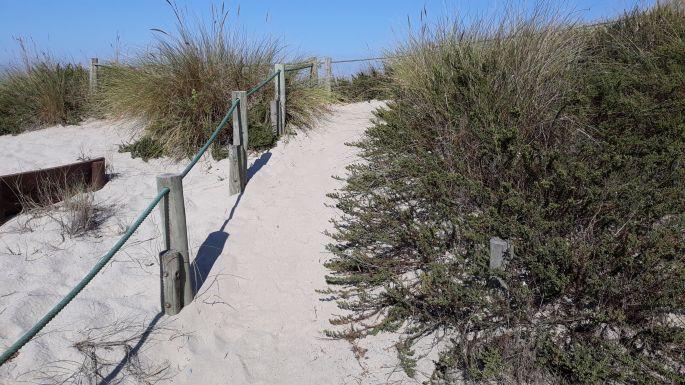 Portugál Camino Costa, óceánpart, a fapallós utat is betemette a homok, csak az oszlopok látszanak ki belőle