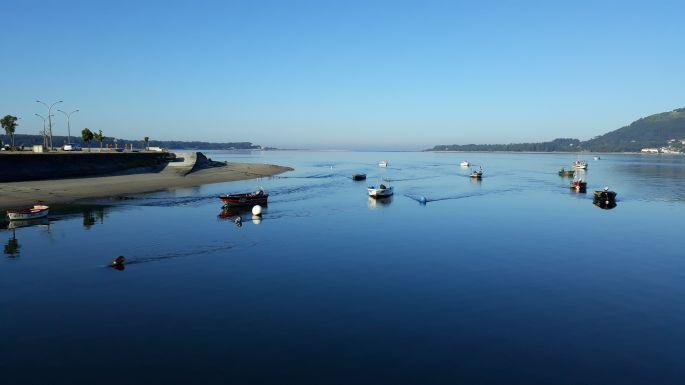 Portugál Camino Costa, a Mino folyó torkolata