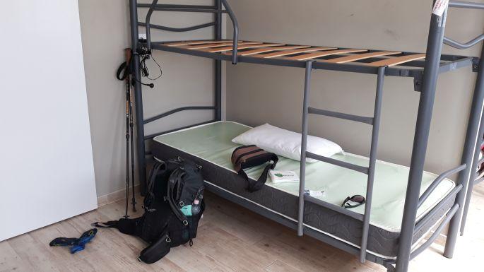 Variante Espiritual, Armenteira, albergue, ez az én ágyam, ekkor még nem volt felettem senki, aztán később jött Gábor