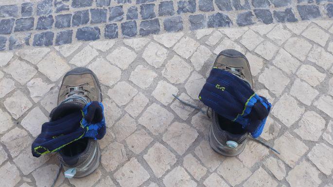 Portugál camino, száradó cipő és zokni