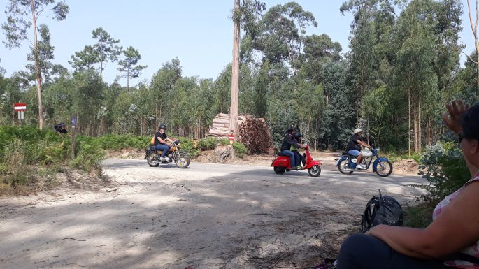 Portugál camino, motorosok az erdőben