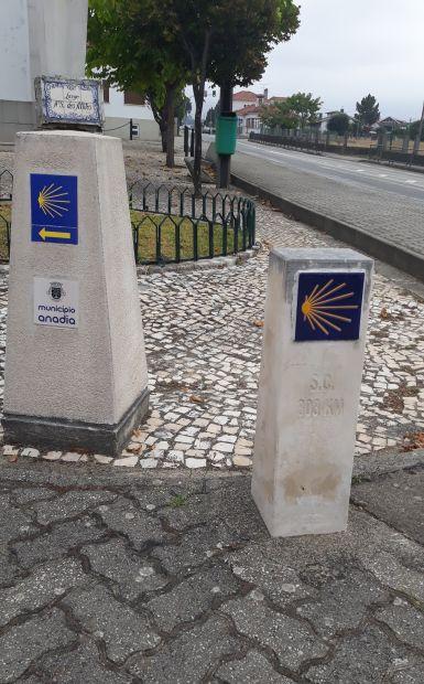 Portugál camino, kagylós útjelző kő