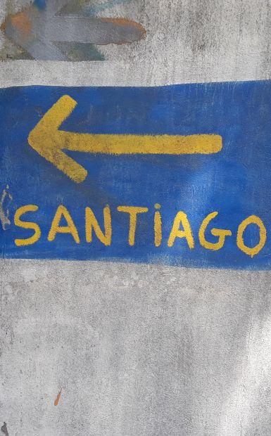 Portugál camino, nyíl Santiago felé