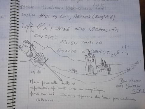 Ez a bejegyzés ugyan nem magyar zarándoktól való, de olyan kedves ez a rajz, hogy lefotóztam. :-)