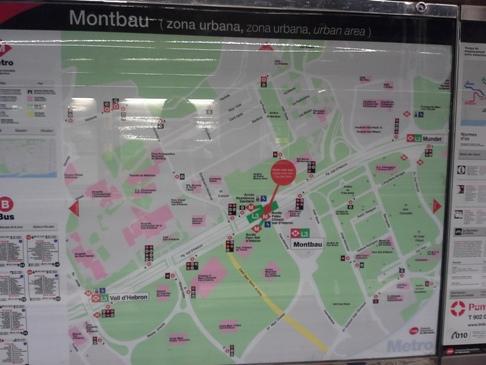 Barcelona - Montbau városrész térképe.