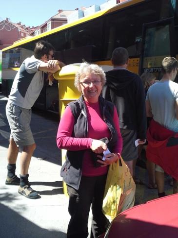 A másik magyar peregrina, akitől a buszmegállóban búcsúztam.