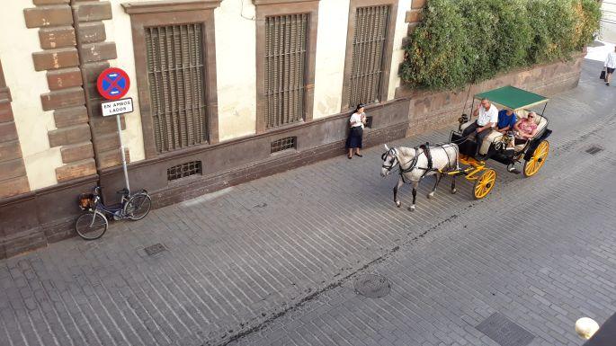 Andalúz körutazás, Sevilla, kilátás a szobánkból az utcára ahol éppen egy lovashintó halad el
