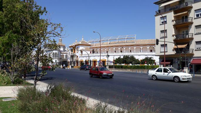 Andalúz körutazás, Sevilla, a Plaza de Toros, vagyis az aréna, a bikaviadalok színhelye