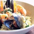 Grillezett polipcsáp, krémes tenger gyümölcsei rizottóval