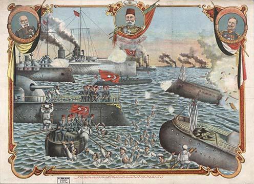 Az egyik kiállított tárgy: török plakát a Fekete-tengert elzárni akaró orosz flotta felett aratott győzelmükről, a központi hatalmak uralkodói, Ferenc József, V. Mehmed és II. Vilmos arcképeivel