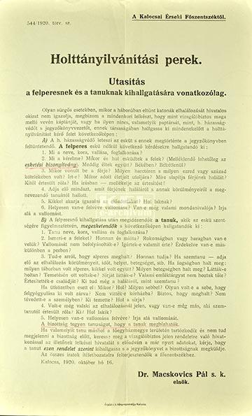 A Kalocsai Érseki Főszentszék holttányilvánítási eljárást szabályozó, 1920. október 16-án 544/1920 törv. szám alatt kiadott utasítása