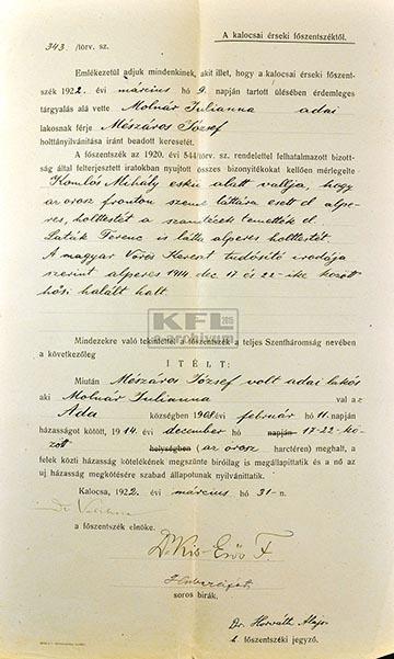 Molnár József volt adai lakos 1922. március 31-én kelt holttá nyilvánító ítélete