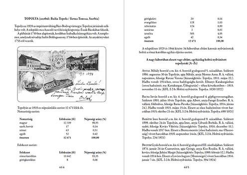 Topolyai települési adatok és az adattár eleje – részlet a kötetből