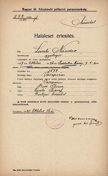 László Nándor veszprémi 31-es gyalogos haláleset értesítője – kép a kötetből