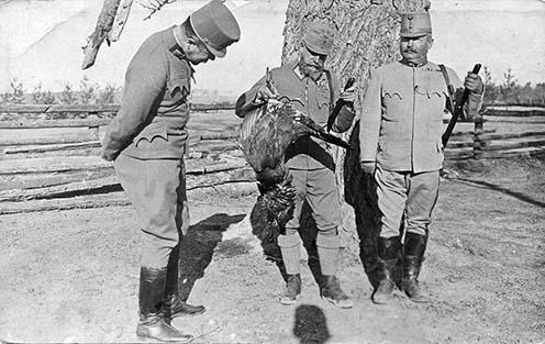 József Ferdinánd főherceg vezérezredes a cs. és kir. 4. hadsereg parancsnok a vadászzsákmánnyal, jobbra mellett Schamschula Rezső vezérőrnagy a 41. honvéd gyaloghadosztály parancsnoka