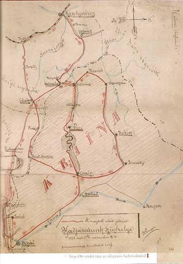 A naplóíró eredeti rajza a hadműveletek helyszínéről a kötetben