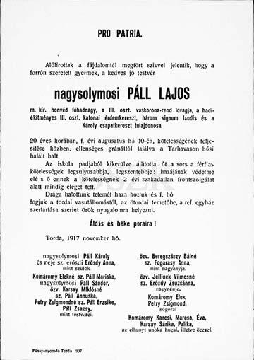 nagysolymosi Páll Lajos főhadnagy gyászjelentése
