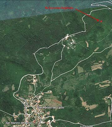 Az egykori 8a kaverna helye műholdas felvételen