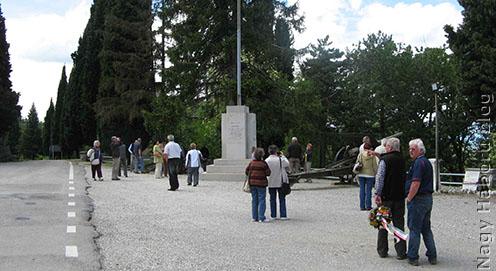 Megérkezés a Monte San Michele tetejére