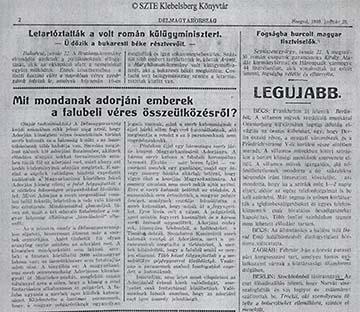 A Szegeden megjelenő Délmagyarország 1919. január 23-ai tudósítása az adorjáni eseményekről