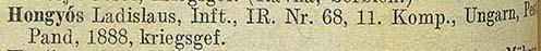 Az 1915. június 11-i veszteséglista részlete