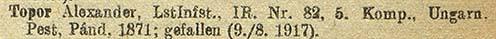 Az 1917. december 15-i veszteséglista részlete