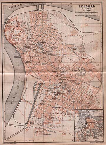 """Belgrád német nyelvű térképe (az """"utolsó állás"""" az északon kb. a Banat ul. """"n"""" betűjénél volt)"""